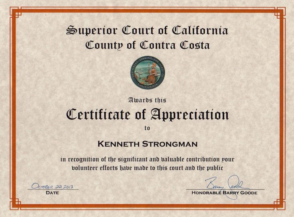 Ken Strongman Volunteer appreciation 2013